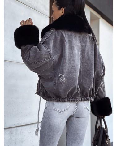 Grafitowa kurtka jeansowa z futerkiem czarnym