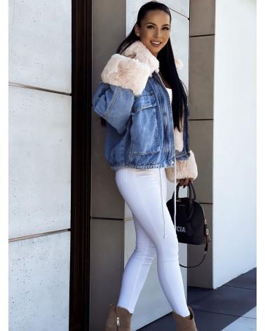 Jeansowa kurtka z kremowym futerkiem niebieska