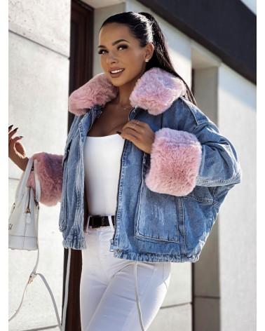 Jeansowa kurtka z różowym futerkiem niebieska