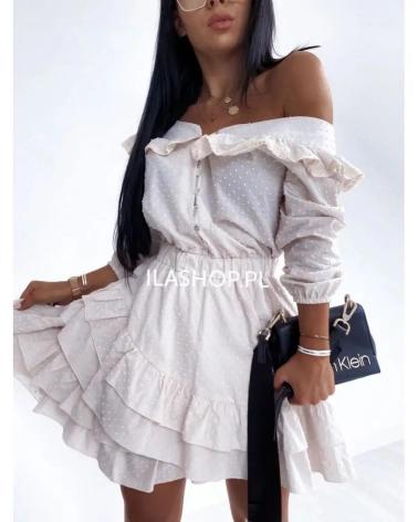 Sukienka hiszpanka jasny beż Lila