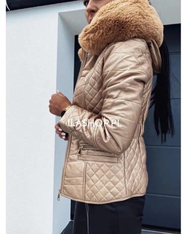 Złota kurtka z kieszeniami i paskiem Bienia