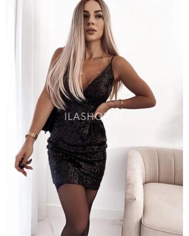 Sukienka cekinowa na ramiączkach czarna Hollywood