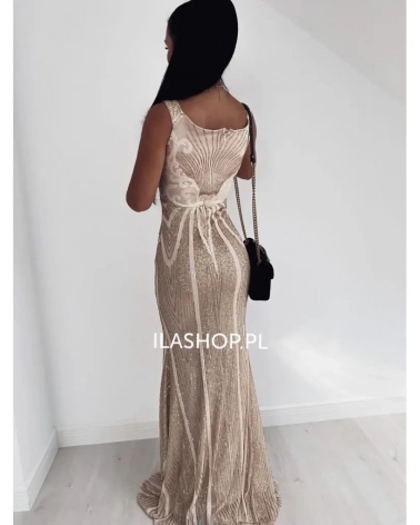 Długa sukienka wieczorowa z cekinami beżowa Della