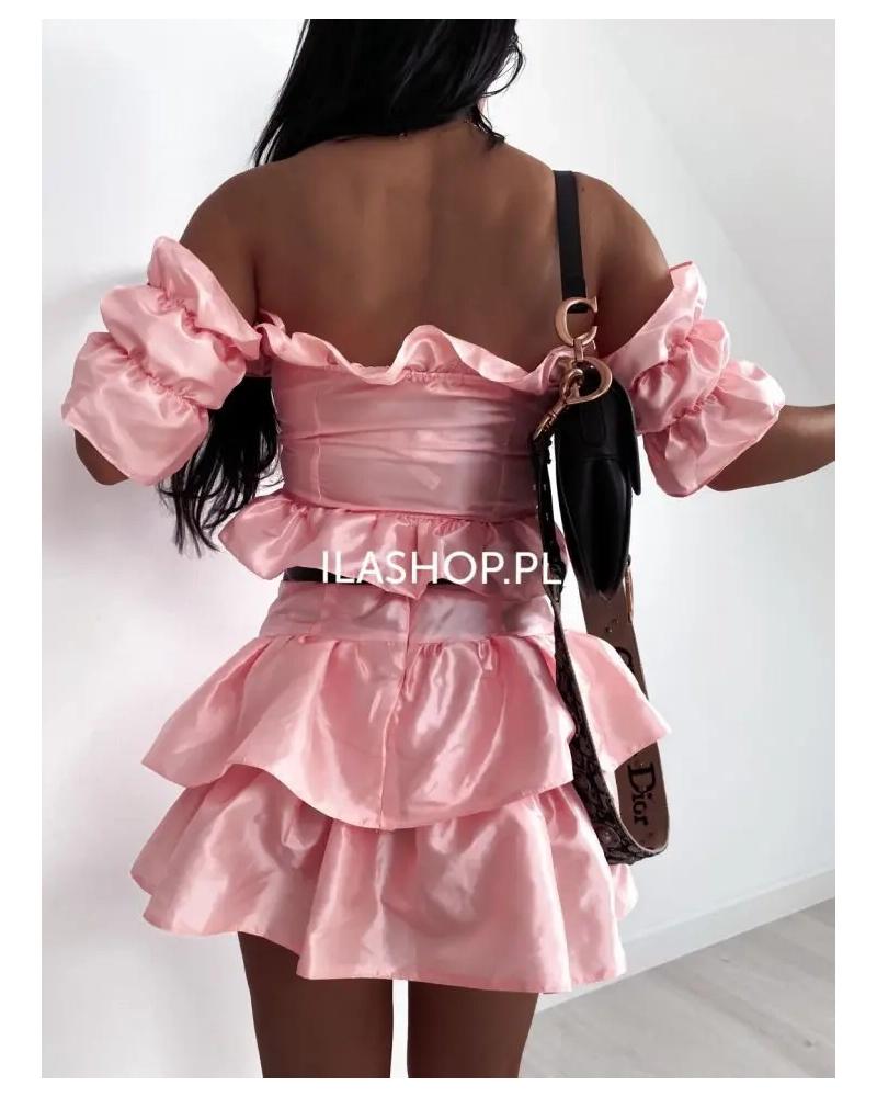 Komplet damski spódnica i top pudrowy Shino