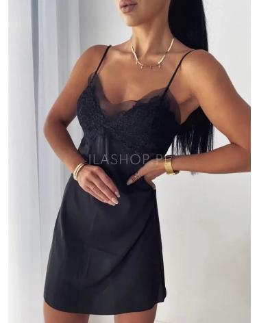 Koszula nocna damska z koronką czarna Lovely