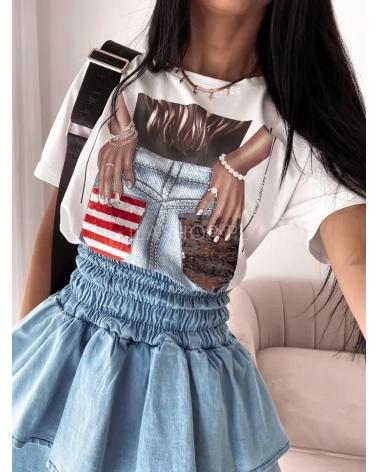 Koszulka z nadrukiem w kolorze białym