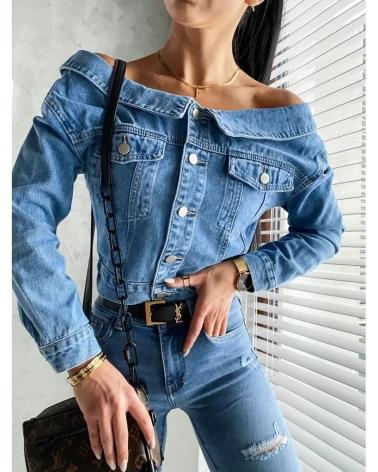 Katana jeansowa z odkrytymi ramionami w kolorze niebieskim