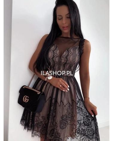 Sukienka z koronką w kolorze czarnym