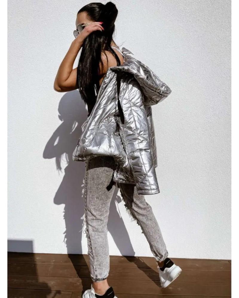 Asymetryczna kurtka przejściowa z nerką w kolorze srebrnym