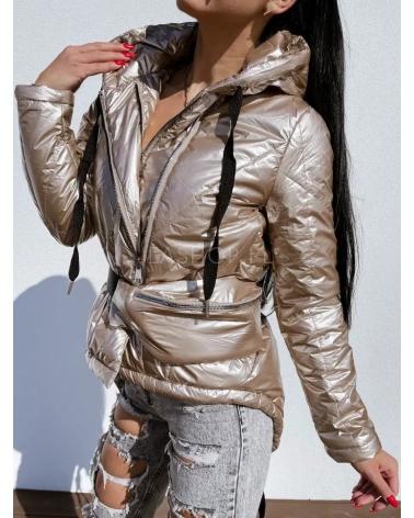 Asymetryczna kurtka przejściowa z nerką w kolorze złotym