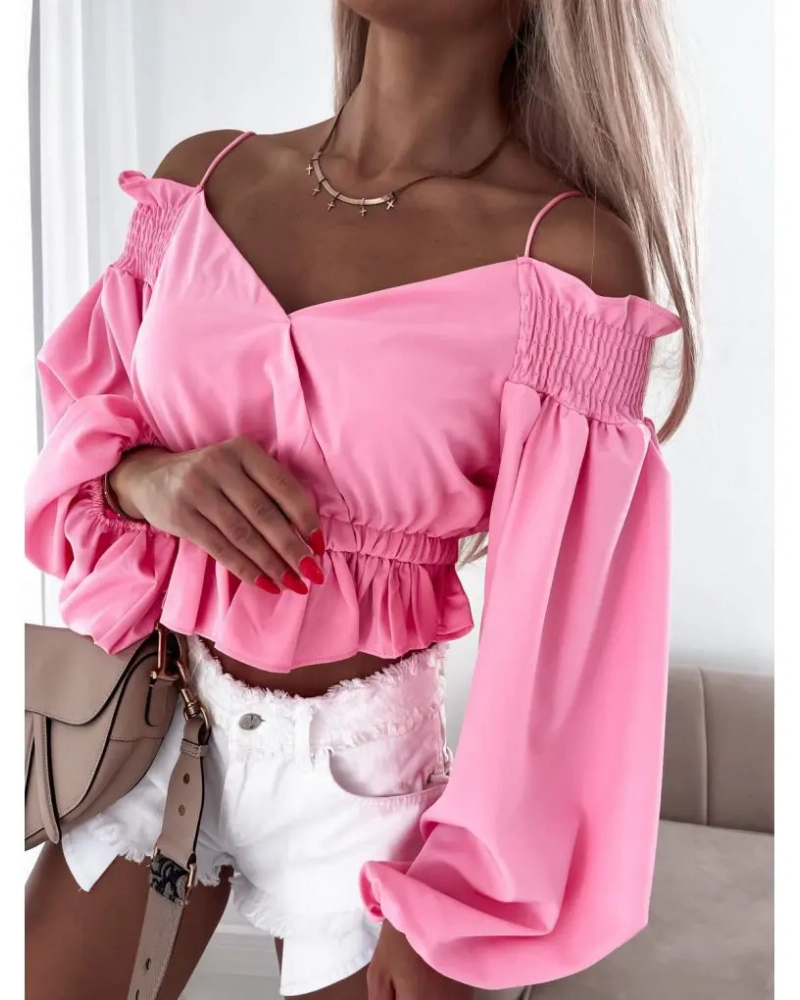 Krótka bluzka hiszpanka różowa