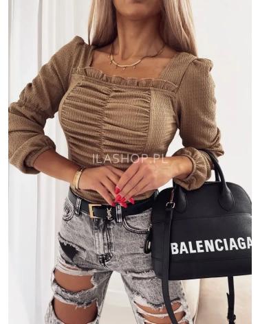 Bluzka hiszpanka w stylu boho brązowa
