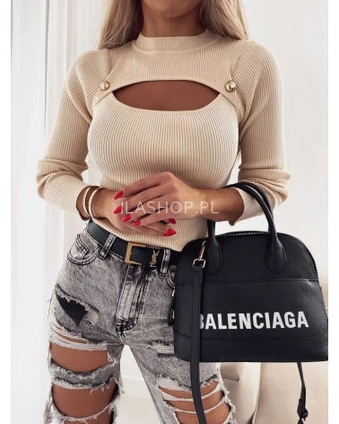 Sweter z wycięciem i napami beżowy