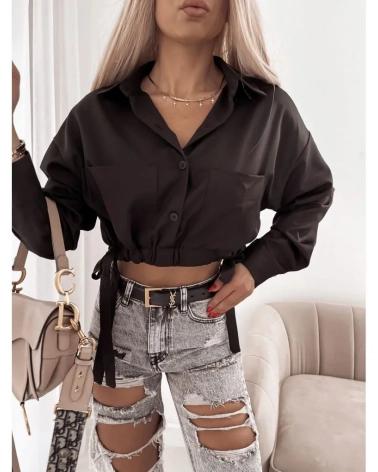 Krótka koszula damska z długim rękawem czarna Moore
