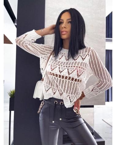 Sweterek ażurkowy z długim rękawem biały Molly