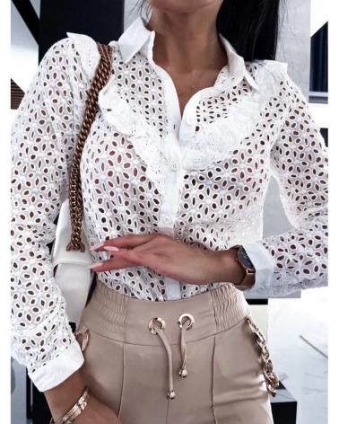 Ażurowa koszula z kołnierzykiem Biała Cristina