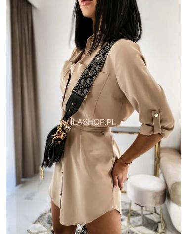 Sukienko Koszula na guziki z paskiem beżowa Aqua