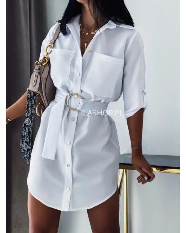 Sukienko Koszula na guziki z paskiem biała Aqua