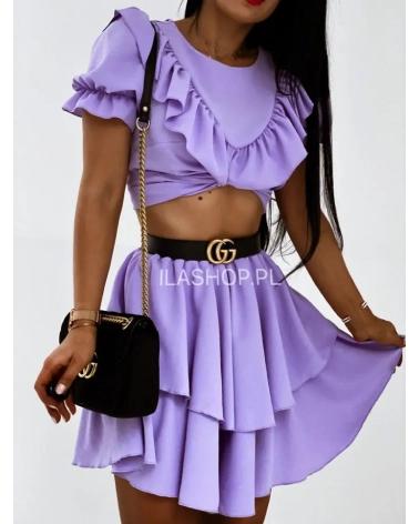 Komplet z falbanką spódnica + bluzka liliowy Karla