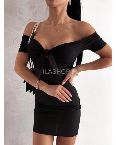 Sukienka hiszpanka prążkowana czarna Kolia