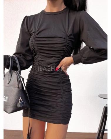 Drapowana sukienka z bawełny czarna Cuenca