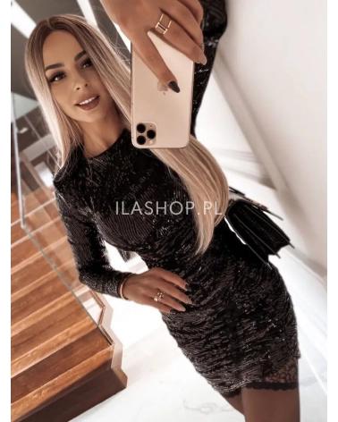Sukienka cekinowa z długim rękawem czarna Cannes
