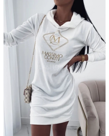 Długa bluza z weluru z kapturem biała Masimo