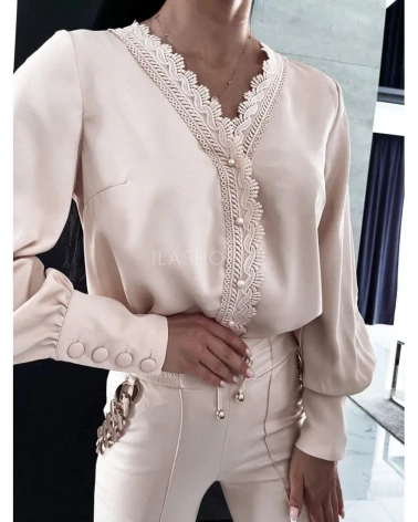 Elegancka koszula z mankietami i gipiurą beżowa Manuela