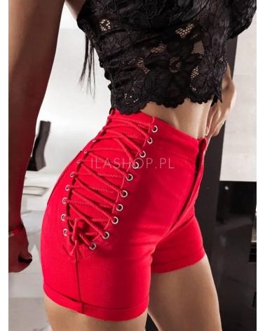Szorty damskie jeansowe czerwone Rocket