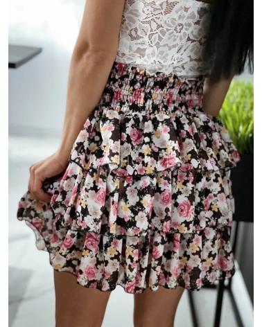 Spódniczka w kwiaty czarna Marbella