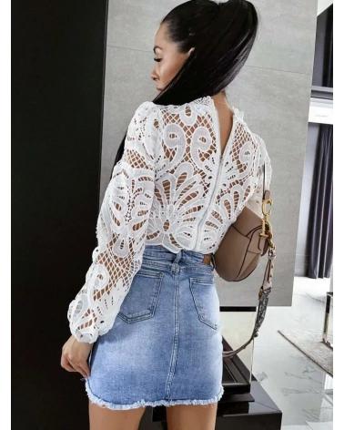 Spódnica jeansowa z guzikami niebieska Georgia