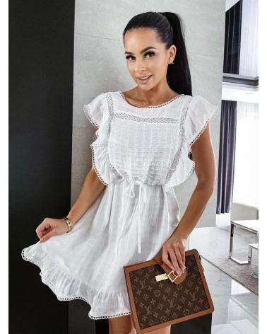Sukienka rozkloszowana z falbankami biała Lopez