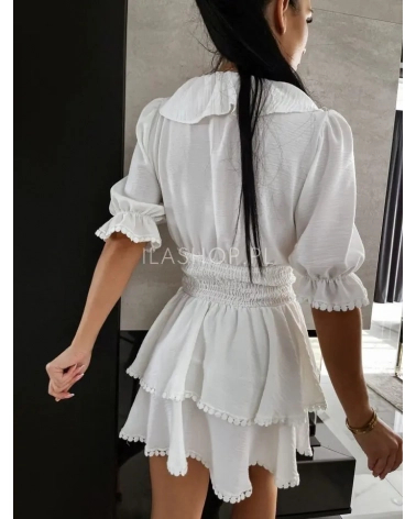 Sukienka ze ściągaczem ecru Claris