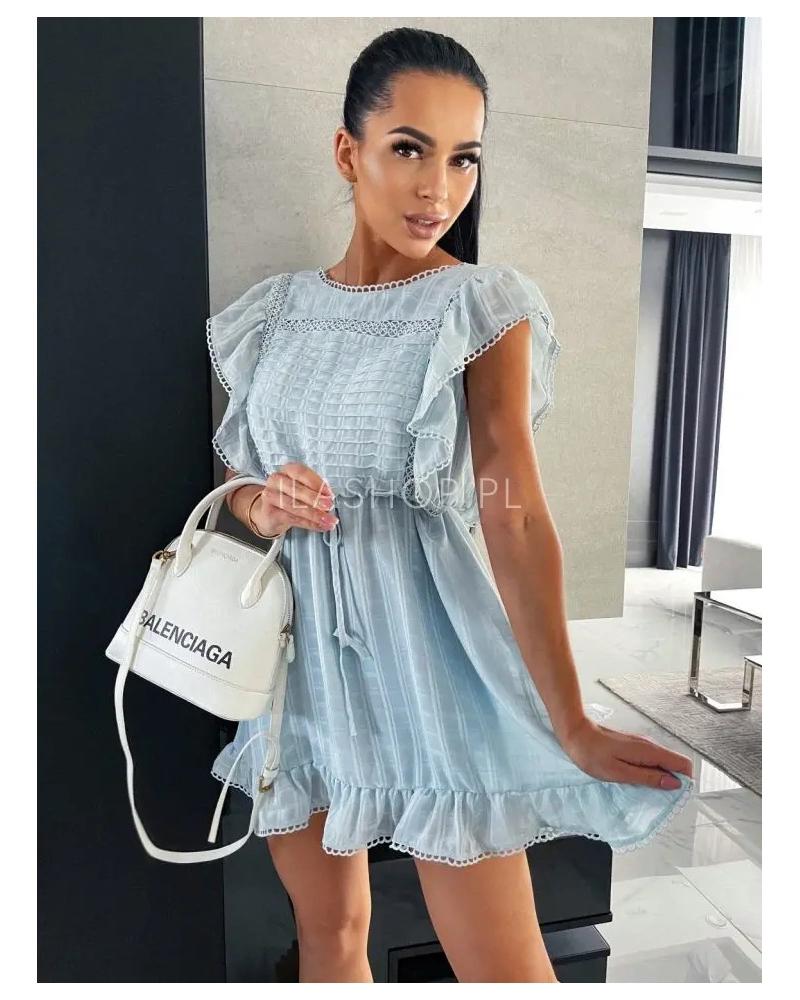 Sukienka rozkloszowana z falbankami błękit Lopez