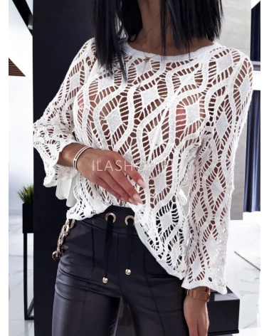 Sweterek pleciony biały Monny