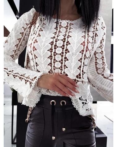 Bawełniany sweter ażurowy biały Sans