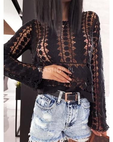 Bawełniany sweter ażurowy czarny Sans