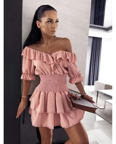 Sukienka ze ściągaczem pudrowa Claris