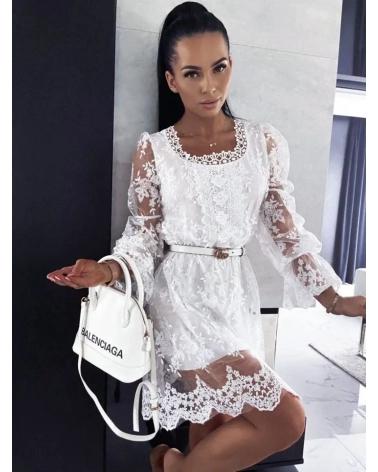 Sukienka boho haftowana biała Amor