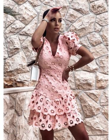 Gipiurowa sukienka z krótkim rękawem