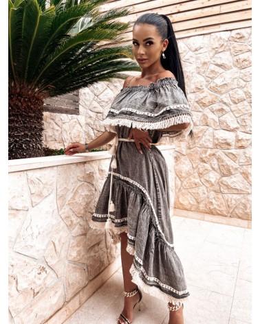 Asymetryczna sukienka z bawełny z frędzlami w kolorze szaro-ecru