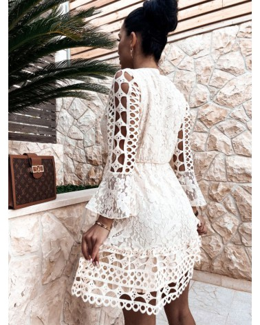 sukienka ażurowa beżowa