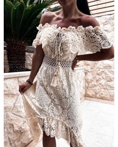 sukienka hiszpanka beżowa