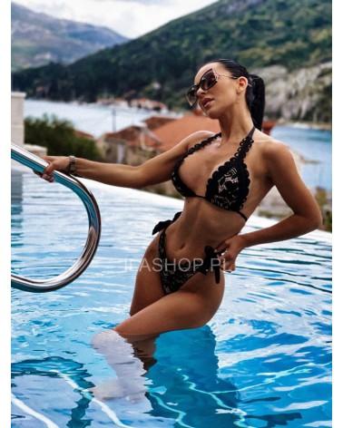 Wiązane brazylianki do bikini czarne