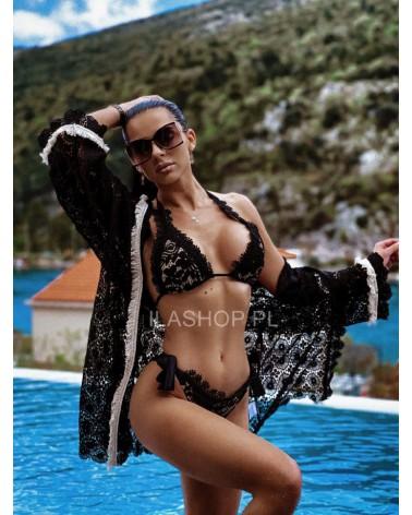 Góra od bikini z gipiurą czarna Puerto