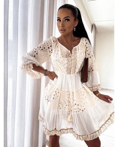 Sukienka boho z frędzlami kremowa