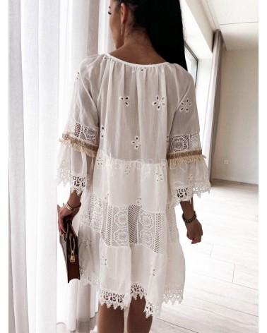 Sukienka boho z frędzlami ecru