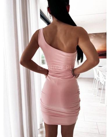 Sukienka na jedno ramię pudrowa