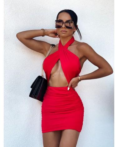 Sukienka z przekładanym dekoltem czerwona