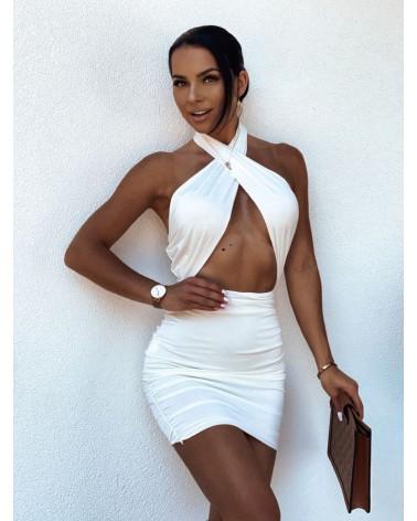 Sukienka z przekładanym dekoltem biała